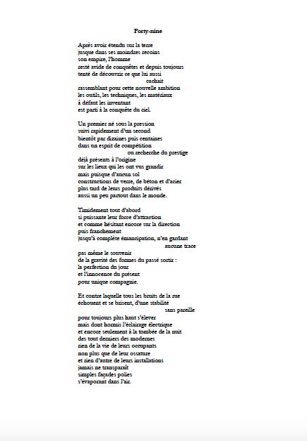 Francis Benteux Forty Nine Poème